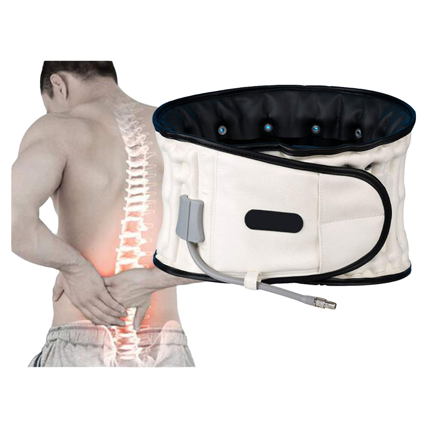 Improving Back Pain By Physio Decompression Belt,Back Pain Relief Spine Support Belt for Men and Women(29-49inches). (White)