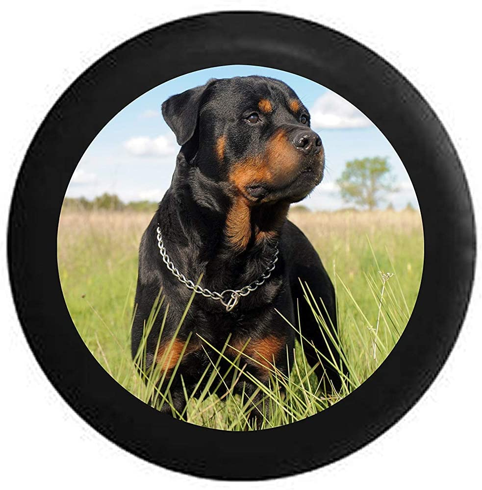AllenPrint Wheel Tire Cover,Copriruota di Scorta Premium Rottweiler in Field Black N Tan Dog per Ruota Auto Jeep 70-75cm