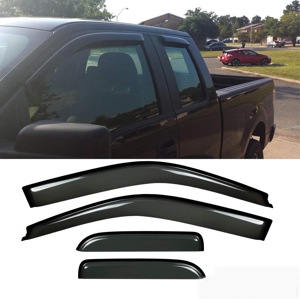 15 16 17 18 F150 Super Cab Side Window Door Sun Deflector Rain Visors Vent Shade