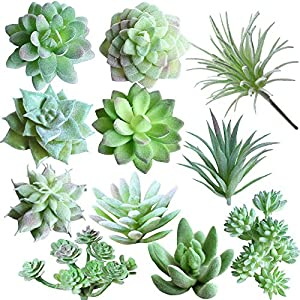 Supla 11 Pcs Mini Artificial Succulents Picks Unpotted Faux Succulent Assortment in Flocked Green in Different Type Different Size Succulents Echeveria Agave Floral Arrangement Mother Day' s Gift 62