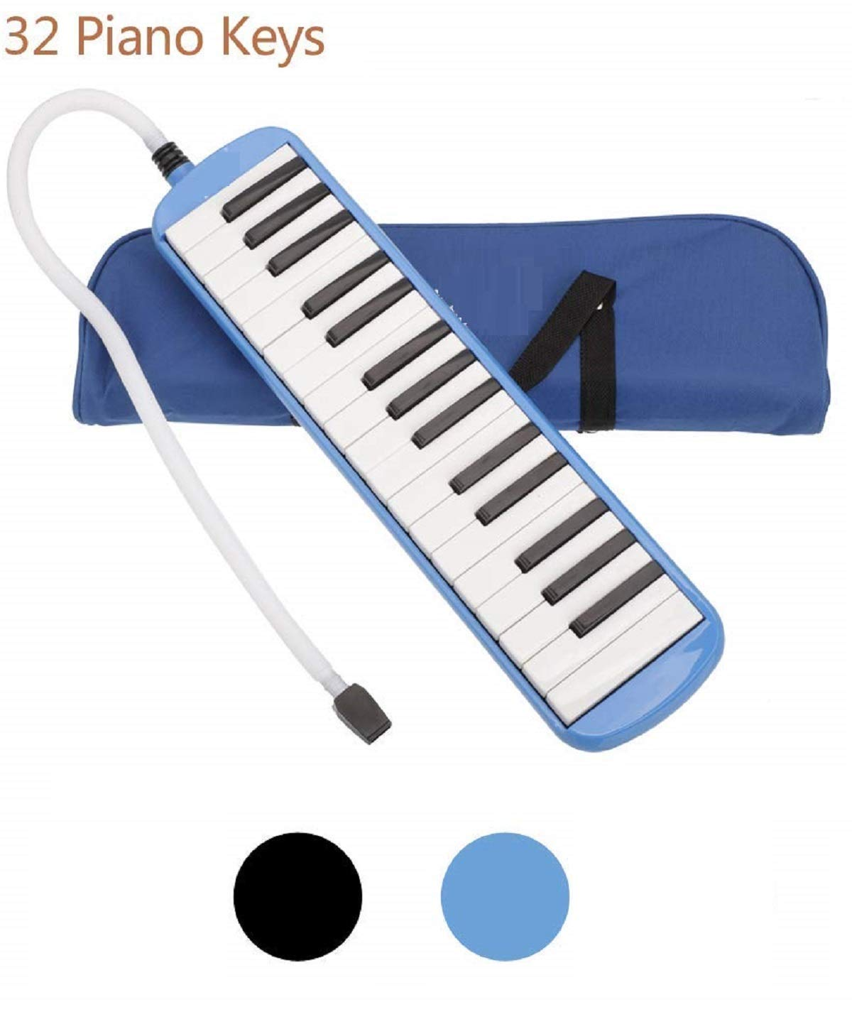 Techtest 32 Key Melodica Musical Instrument With Carry Bag Accessories For Kids Beginner Baby Harmonica Piano And Keyboard Music Lovers Two Mouthpieces Carrying Keys Mouthpiece Beginners (Blue) product image