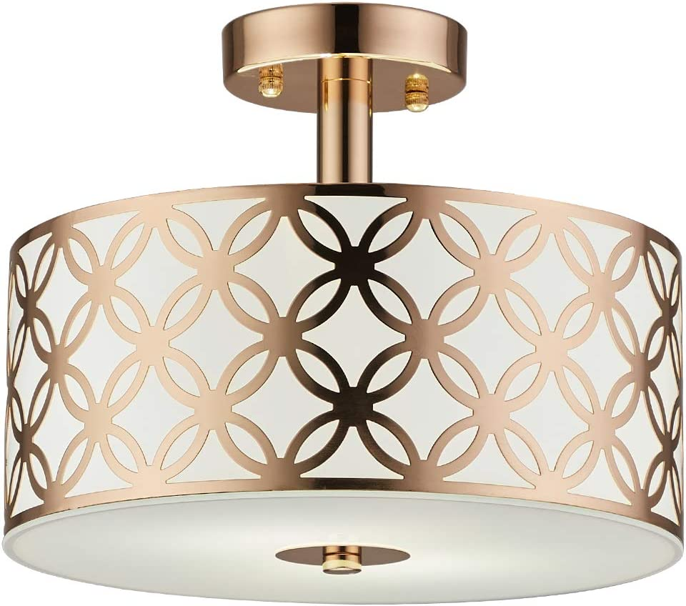 COTULIN Modern Gold Semi Flush Mount Ceiling Light,Ceiling Light Fixture with Round Drum Steel and Glass Shade for Dining Room,Hallway,Living Room,Bedroom