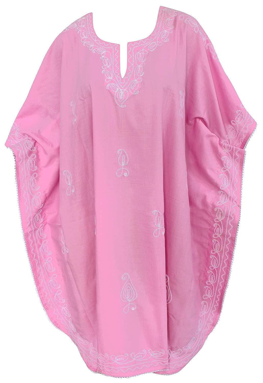 LA LEELA Frauen Damen Rayon Kaftan Tunika Bestickt Kimono freie Größe kurz Midi Party Kleid für Loungewear Urlaub Nachtwäsche Strand jeden Tag Kleider AQ