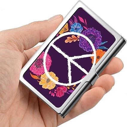 Símbolo de paz hippie con flores Hojas y capullos Estuche para tarjetas de presentación para mujer Estuche para tarjetas de presentación para hombre Metal profesional 3.81x 2.7 X 0.29 pulgad: Amazon.es: Oficina
