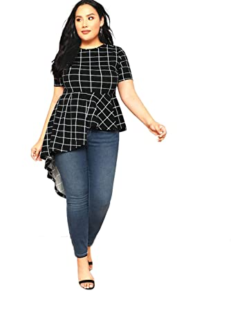 cd1f368703c Romwe Women s Plus Size Short Sleeve Asymmetrical Ruffle Hem Peplum Plaid  Blouse Black 0XL
