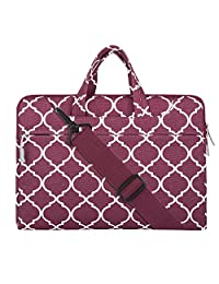 Mosiso Quatrefoil Style Fabric Laptop Sleeve Case Cover Bag with Shoulder Strap for 11-11.6 Inch MacBook Air, Ultrabook Netbook Tablet, Wine Red
