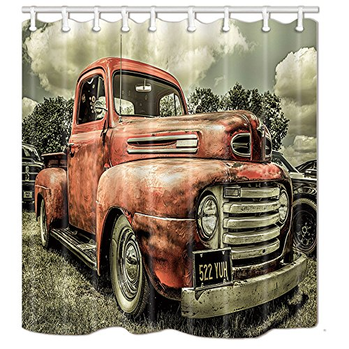 NYMB Antique Car Shower Curtains, Custom Vintage Old Truck Car Decor, Polyester Fabric Shower Curtain Set Fantastic Decorations Bath Curtain, 69X70in