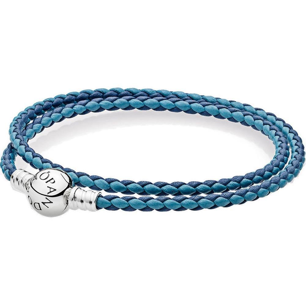 PANDORA Mixed Blue Woven Double-Leather Charm Bracelet 590747CBMX-D3, Size: 41 cm - 16.1 in