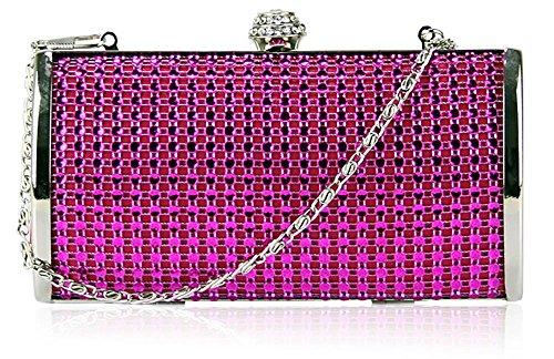Design Hardcase 1 Handbag Ladies Case Pink With Clutch Box New Luxury Sparkly Women Designer Look Chain Evening Bag Diamante Hard TTAvwU