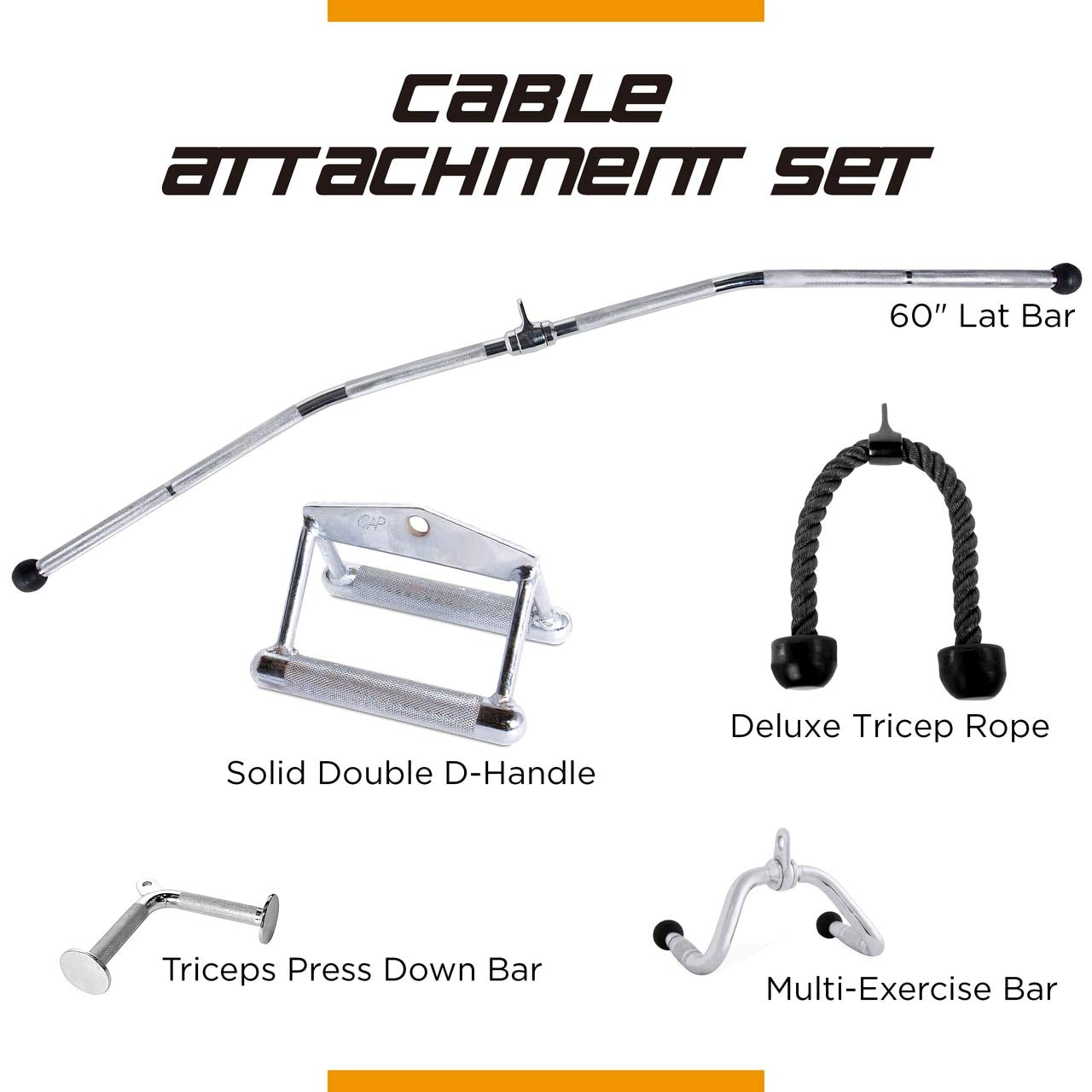 CAP Barbell 60'' LAT Bar & Multi-Exerciser Attachment & V-Shaped Triceps Press Down Attachment & Double D-Shaped Attachment & Triceps Press Down Rope Attachment Set