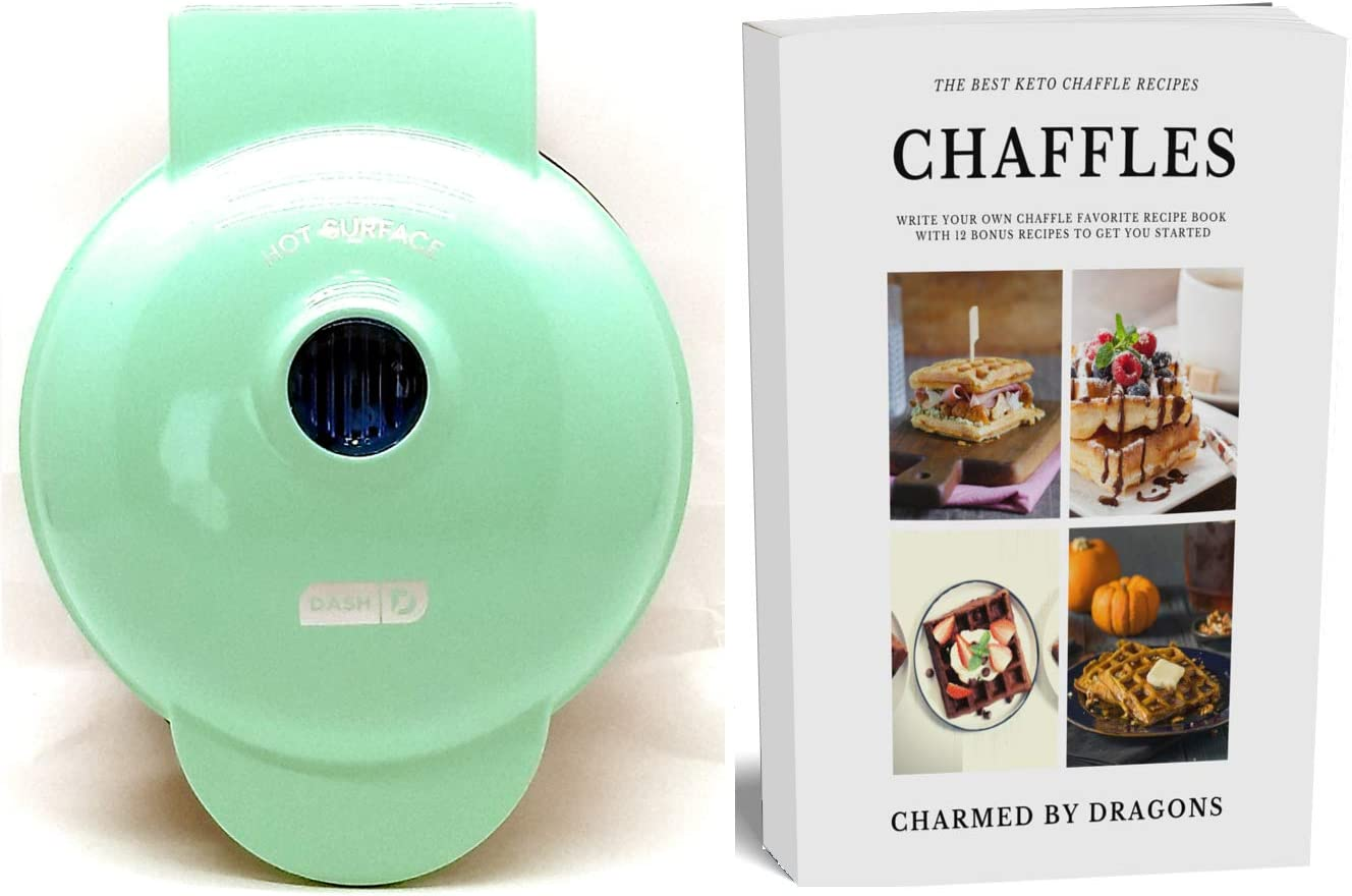 "Dash MINI 4"" Waffle Iron With The Best Keto Chaffle Recipe Book and Journal by Charmed By Dragons (4 Inch MINI AQUA)"