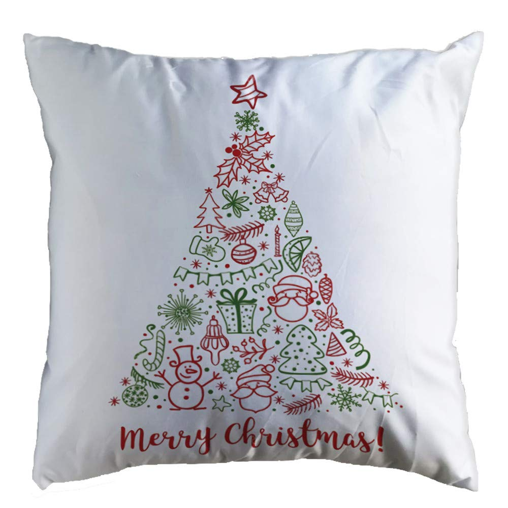 Pgojuni Christmas Cozy Pillowcase Super Soft Decoration Throw Pillow Cover Cushion Cover Square Pillow Case Sofa/Couch Home Decor 1pc 45cm×45cm (D)