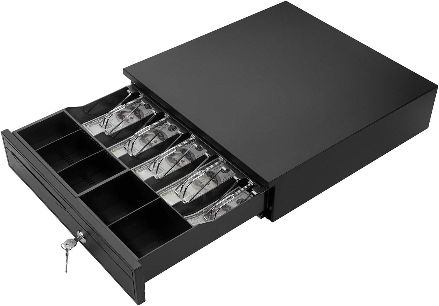 Nurxiovo Caja registradora de 16 Pulgadas con 5 Monedas, con Bandeja extraíble, Compatible con impresoras Epson POS, Caja de Dinero (Negro): Amazon.es: Electrónica
