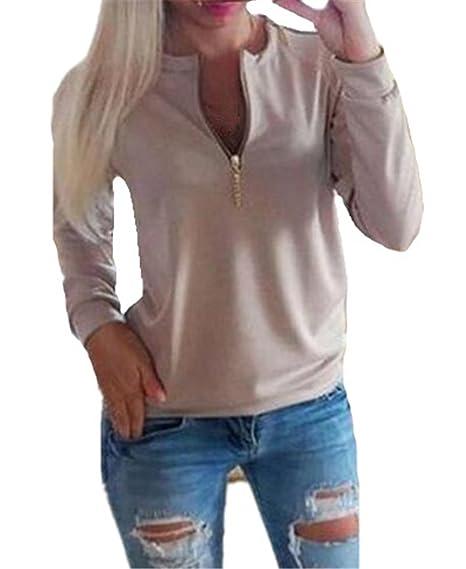 Kerlana Blusa Moda Mujeres Manga Larga T-Shirt Ocasionales Tops Cremallera Sexy Sudaderas Color SÓLido Blusas Casuales: Amazon.es: Ropa y accesorios