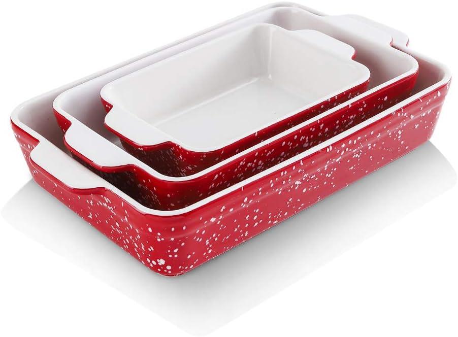 KOOV Bakeware Sets, Ceramic Baking Dish Set, 9 x 13 inch Casserole Dish Set, Rectangular Baking Pans Set, Lasagna Pan for Cooking, Cake Dinner, Kitchen, Oven Pans Snowflake Series, 3-Piece (Red)