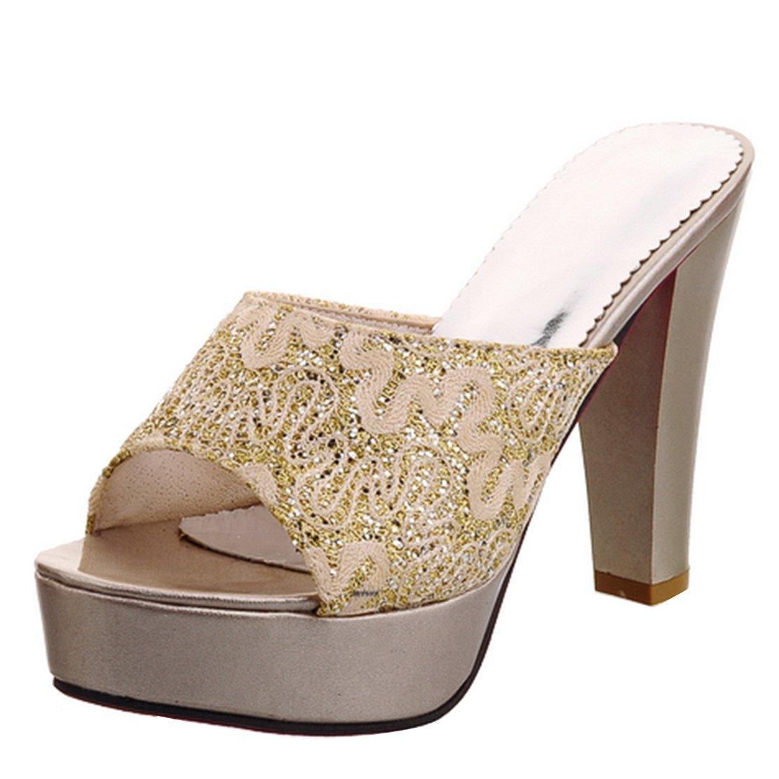 AIYOUMEI Damen Peep Toe Blockabsatz Heel Plateau Pantoletten mit Glitzer und Spitz Bequem Modern Sandalen Schuhe  36 EU|Gold