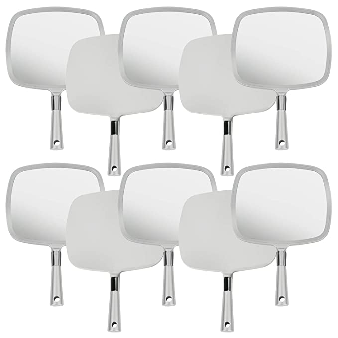 Mirrorvana Large & Comfy Hand Held Mirror with Handle - Silver Salon Model (10-Pack)