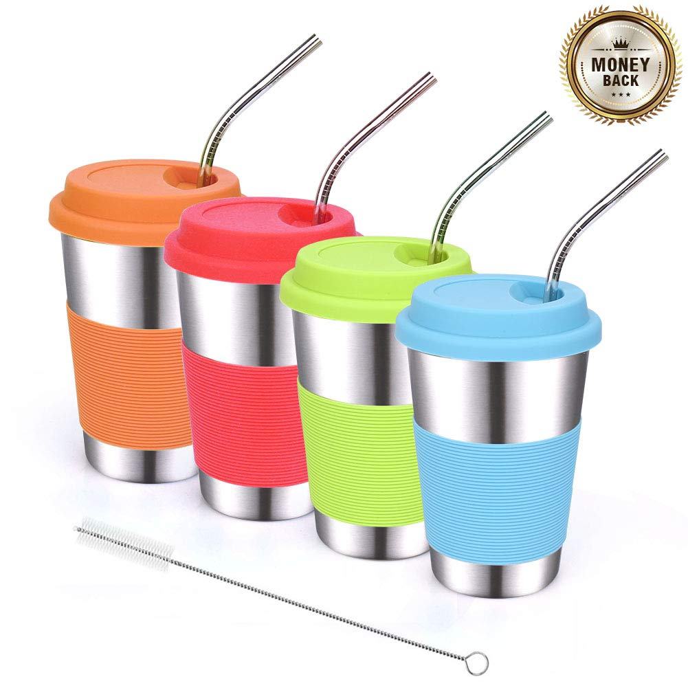 ShineMe Stainless Steel Drinking Cups 16oz with Silicone Lids and Metal Bent Straws for Kids or Adults Apply to Dinning Cars Outdoor