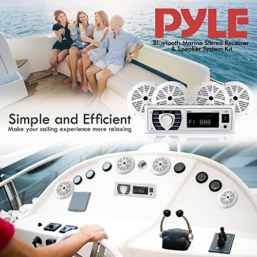 Bluetooth Marine Receiver Stereo & Speaker Kit, Hands-Free Calling, Wireless Streaming, MP3/USB/SD Readers, AM/FM Radio, (4) 6.5