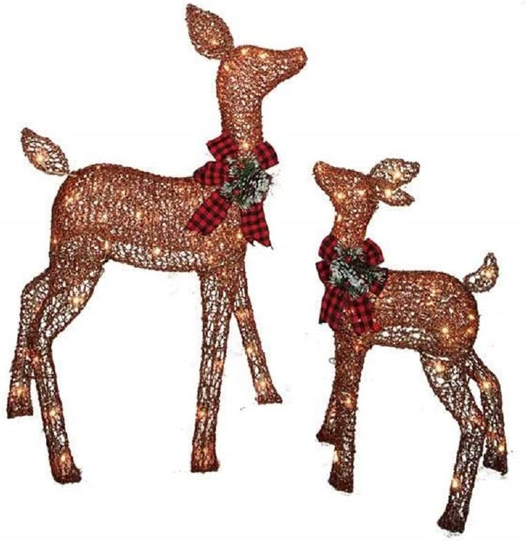 Home Improvements Holiday - 2 Piece Light-Up Holiday Rustic Brown Deer Set - Doe And Fawn Reindeer - 38 Inches Tall - 105 Lights