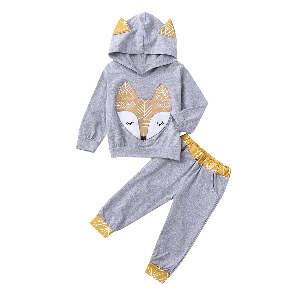 Neugeborenen Pullover Hoodie Baby Mä dchen Jungen langä rmelige Cartoon Fuchs Pullover + Sporthosen Freizeithosen 2 Sä tze Anzug Sport Shirt Freizeitkleidung