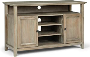 Simpli Home AXCAMH-TV-GR Amherst Solid Wood 54 inch Wide Transitional TV Media Stand in Distressed Grey For TVs up to 60 inches