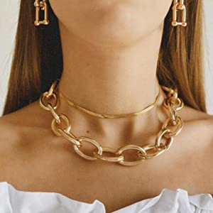 Personality Metal Thick Chain Snake Bone Chain Necklace Women's Frosted Punk Double layer Short Necklace
