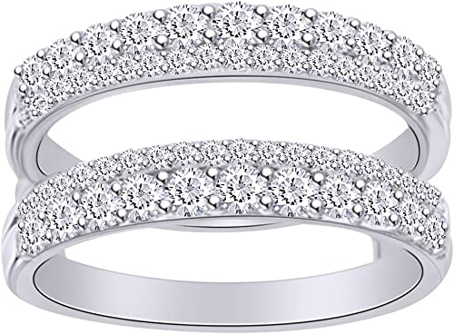 ctw AFFY 1.00 Carat Round Cubic Zirconia Anniversary Wedding Band Enhancer Guard Double Ring in 14K Gold Over Sterling Silver for Women