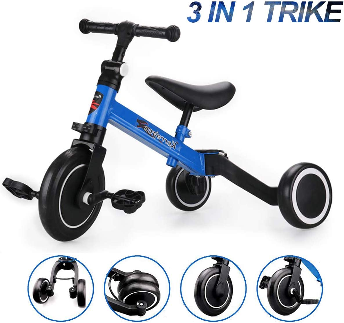 Lovinouse 2020 Upgraded 3 in 1 Kids Tricycle, for 1-6 Years Old Kids, 3 Wheel Convert 2 Wheel Toddler Trikes Bike with Adjustable Seat and Removable Pedals for Boys Girls