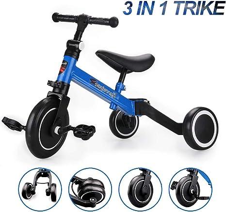 Lovinouse Triciclo para niños 3 en 1, convertir 3 Ruedas con Asiento Ajustable y Pedales extraíbles: Amazon.es: Deportes y aire libre