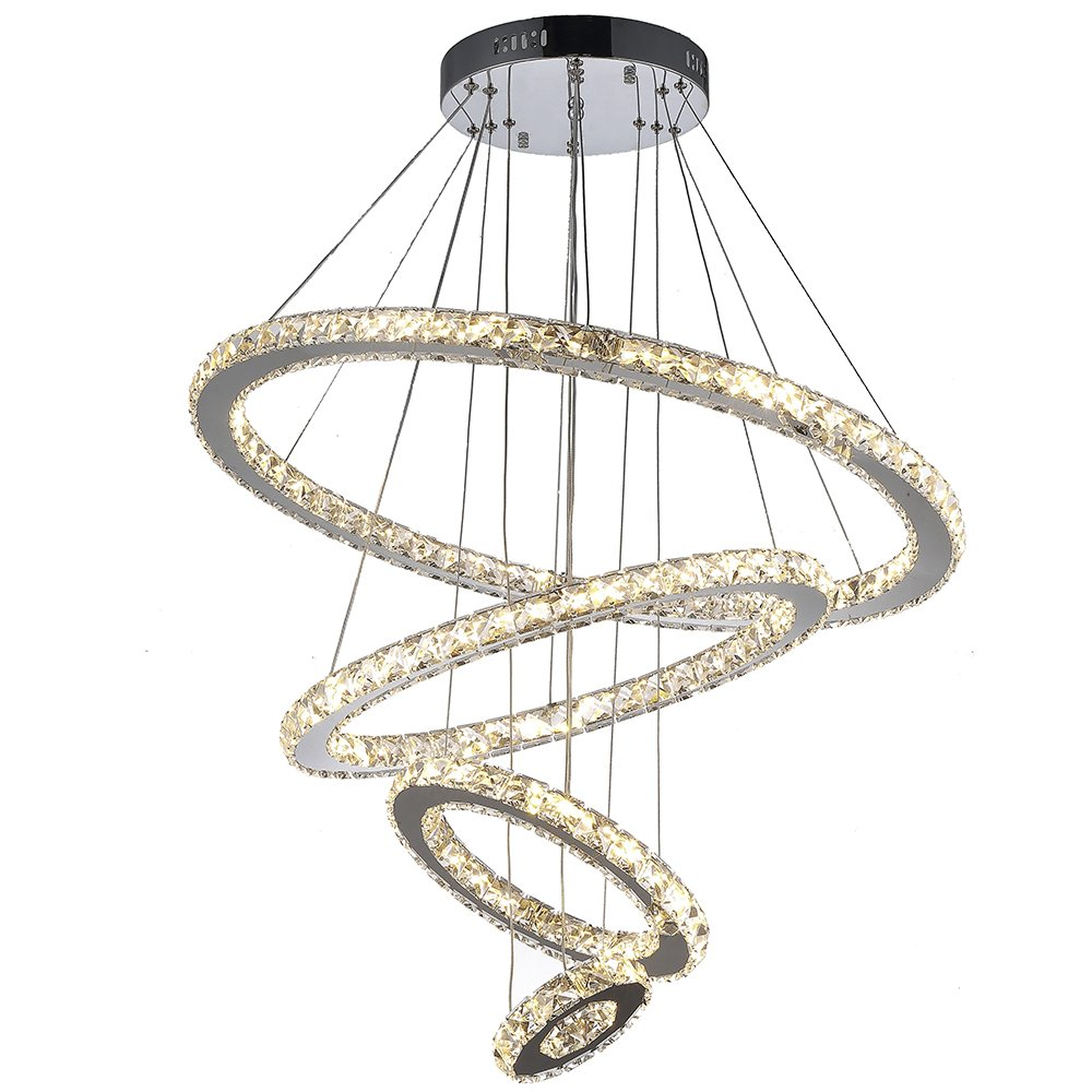 Vallkin dimmable modern round ring clear k9 crystal chandeliers vallkin dimmable modern round ring clear k9 crystal chandeliers lighting ceiling fixture lamp 4 rings for living dining conference bedroom foyer hallway arubaitofo Gallery