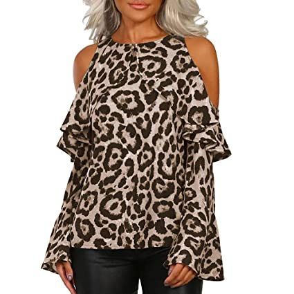 8fd46d4ca3b77 Amazon.com  Sunshinehomely Women Sexy Top Off Shoulder Leopard Print Casual  O-Neck Shirt Fashion Long Sleeve Blouse (XL