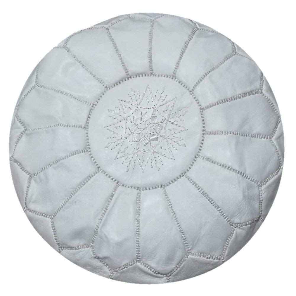 premium handmade leather moroccan pouf ottoman round modern coffee table poofs white Unstuffed