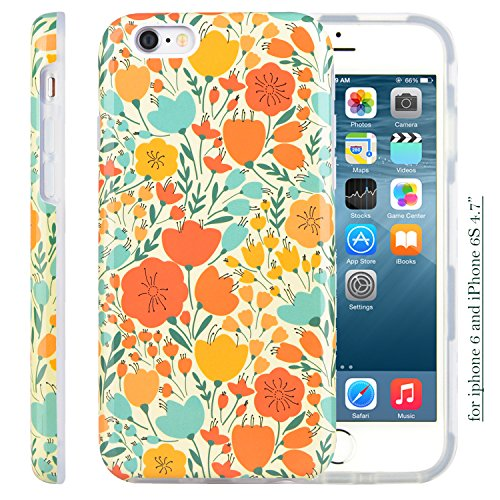 Dimaka iPhone 6 6S Case, Classic Autumn Floral Pattern Cute Style Inked Glossy Surface Protective Case with Hybrid 2 Layers for iPhone 6 and 6S 4.7