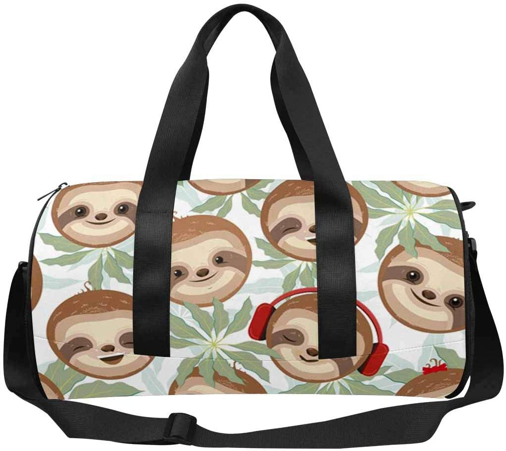 INTERESTPRINT Sloths Faces Among the Leaves Lightweight Carry-on Travel Duffel Bag