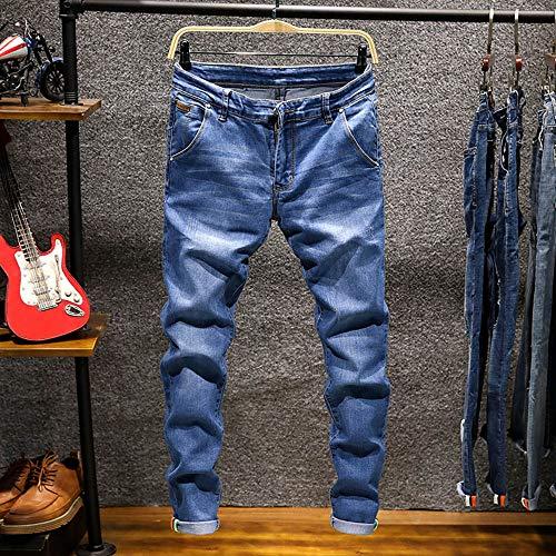 Jiameng Chiaro Jeans hop Lavoro Casuale Dell'annata Da Casual Uomo Pantaloni Dei Hip Del Cotone Lavata Blu Della Di Denim rUwfr