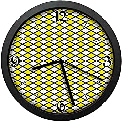 Old Fashioned Checkered Pattern Black Lines Geometrical Squares, Yellow White Black Wall Clock Nice for Gift or Office Home Unique Decorative Clock Wall Decor 12in with Frame
