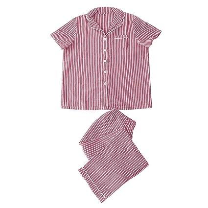 Lanker KJ04P - Juego de Pijama para Mujer, Algodón, Elástico, de Punto,