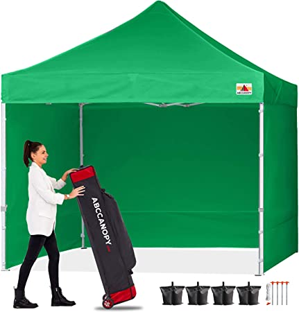 Amazon Com Abccanopy Canopy 10x10 Pop Up Commercial Canopy Tent With Side Walls Instant Shade Bonus Upgrade Roller Bag 4 Weight Bags Stakes And Ropes Kelly Green Garden Outdoor