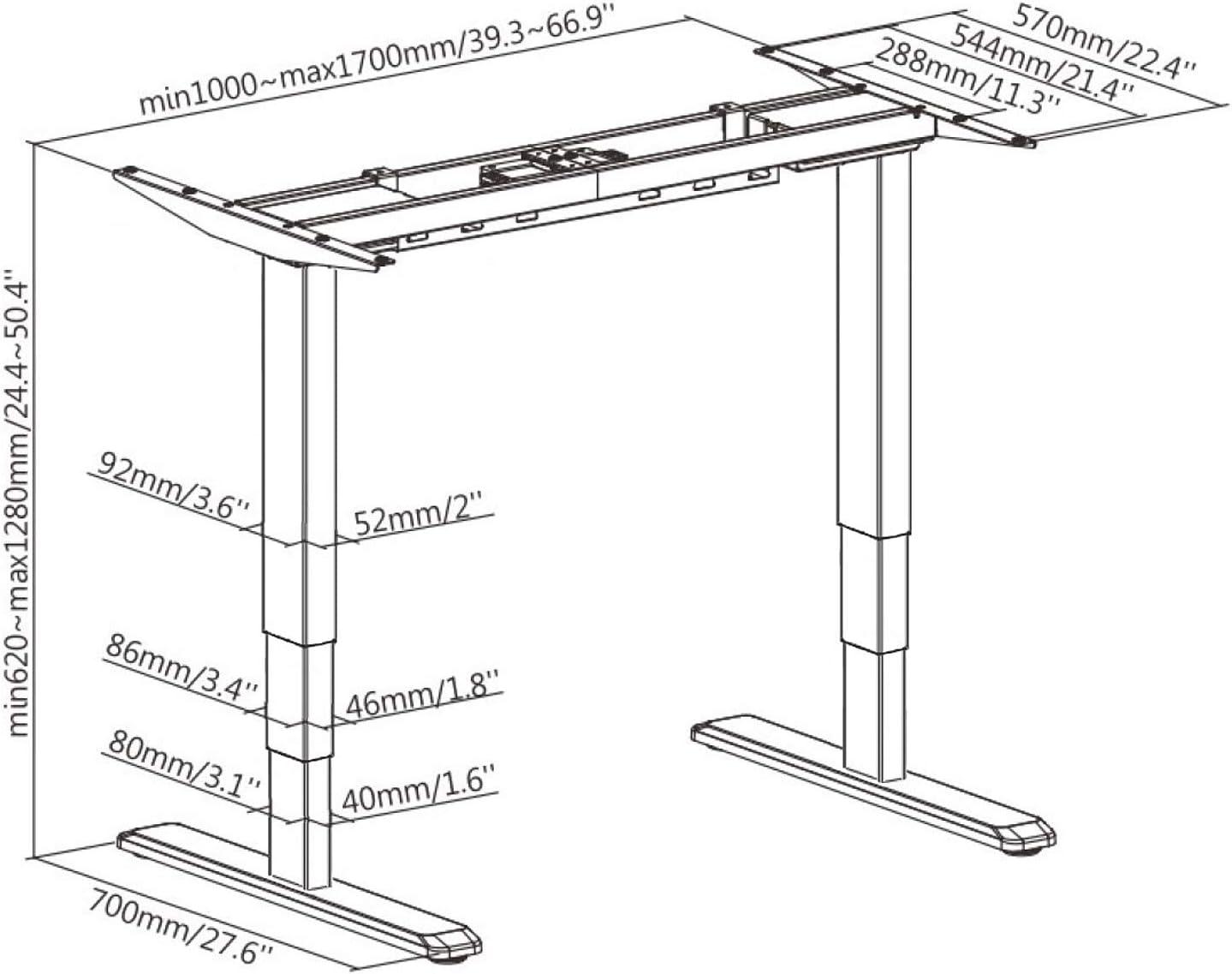 Allcam ACEDF12D Electric Sti-stand Desk Frame/Dual-motor Height Adjustable 63-125cm Wrokstation in Black (frame only)