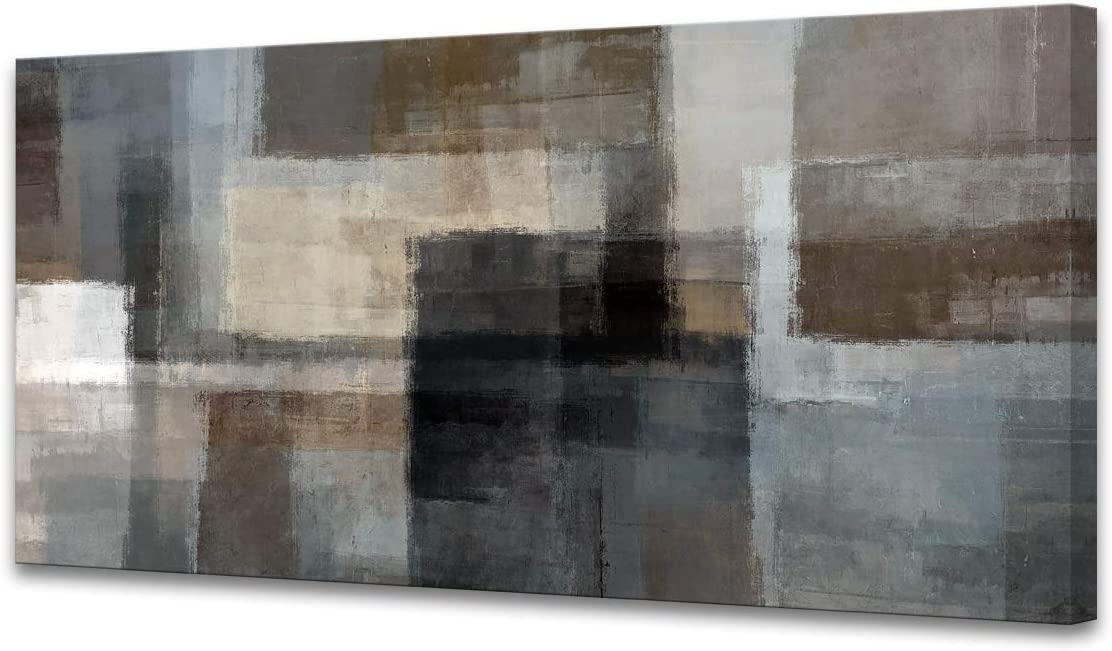Cao Gen Decor A62450 Canvas Prints Abstract Wall Art Print Paintings Grey and Brown Home Decor Stretched and Framed Ready to hang for Living Room Bedroom and Office Home Kitchen Artwork 20x40inch