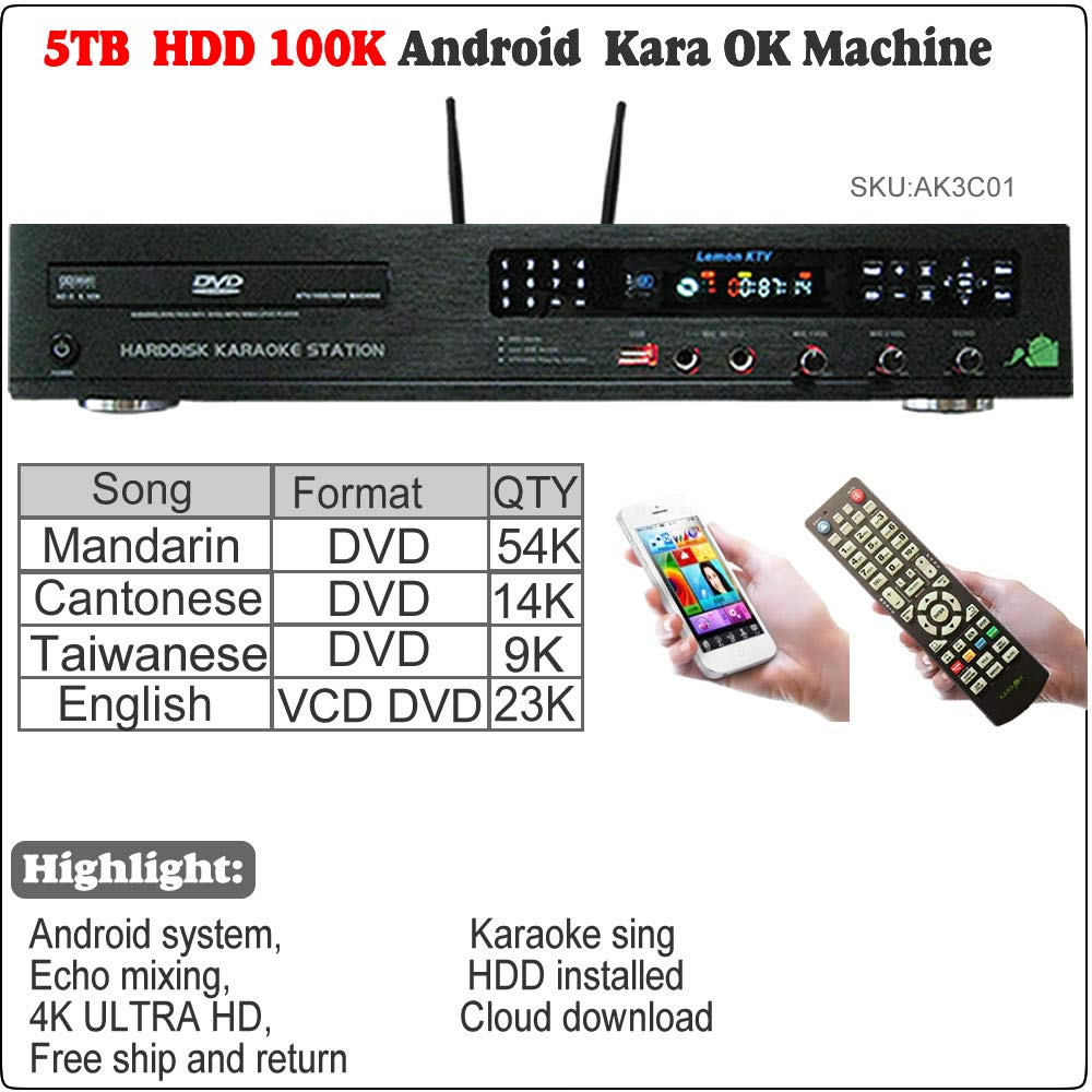 5tb Hdd 100k Chinese English Karaoke Songs Android All Googleplay Gift Card In One Player Jukebox Machine Systemfree Cloud Download Musical