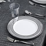 Kaya Collection - Diamond Silver Disposable Plastic Dinnerware Party Package - 60 Person Package - Includes Dinner Plates, Salad/Dessert Plates, Silver Cutlery and Tumblers