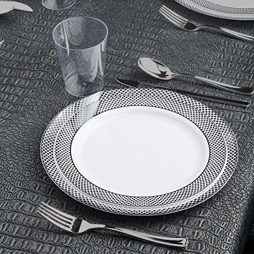 Kaya Collection - Diamond Silver Disposable Plastic Dinnerware Party Package - 60 Person Package - Includes Dinner Plates, Salad/Dessert Plates, Silver Cutlery and Tumblers -