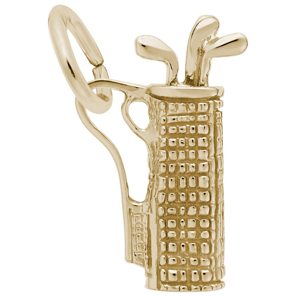 Golf Bag Charm In 14k Yellow Gold, Charms for Bracelets and Necklaces