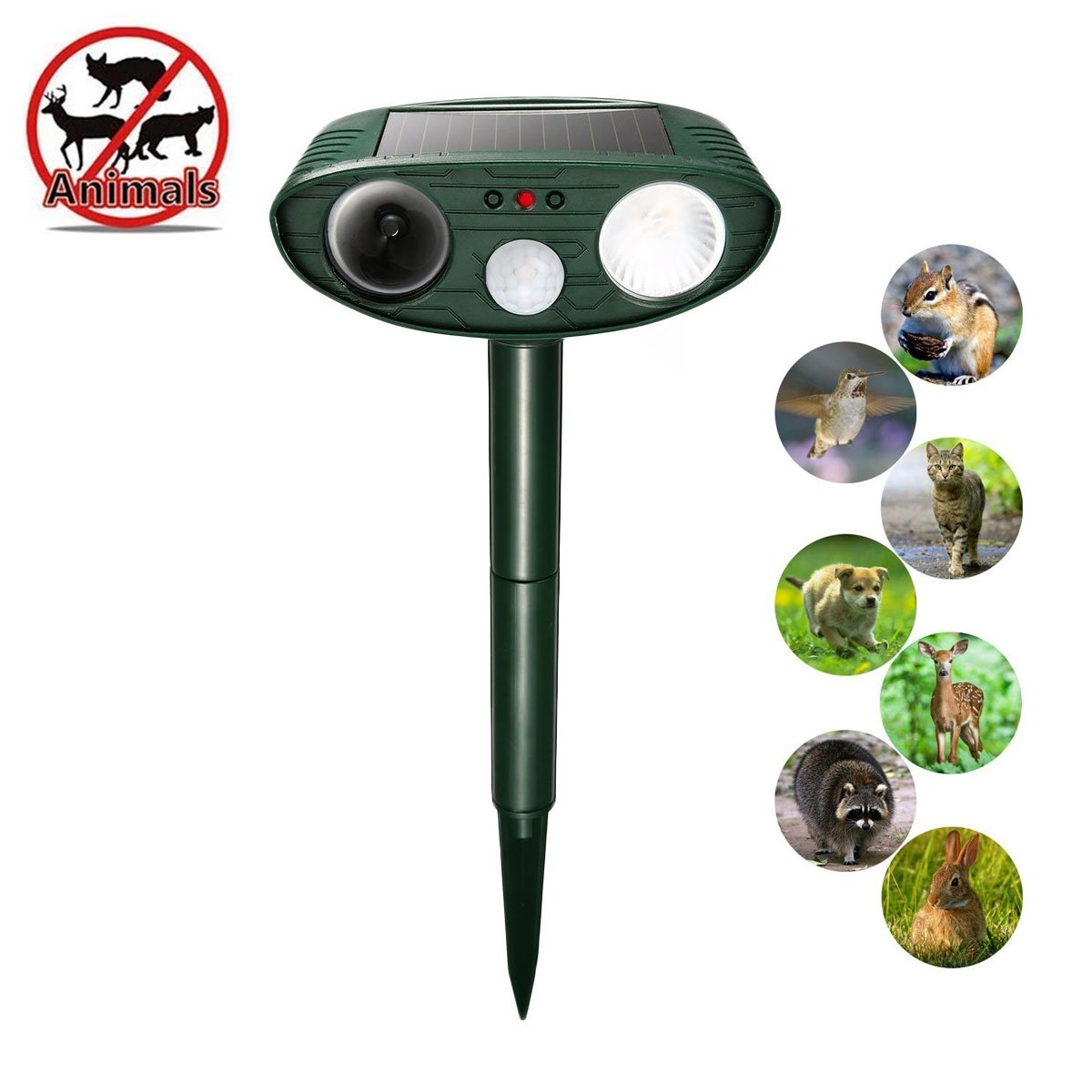 YmissL Ultrasonic Animal Repellent,2018 Upgraded Outdoor Solar Motion Sensor Repeller White Flashing Lights, Dog Repeller, Cat Repellent,Foxes Repeller,Rodent Repellent (Green04)