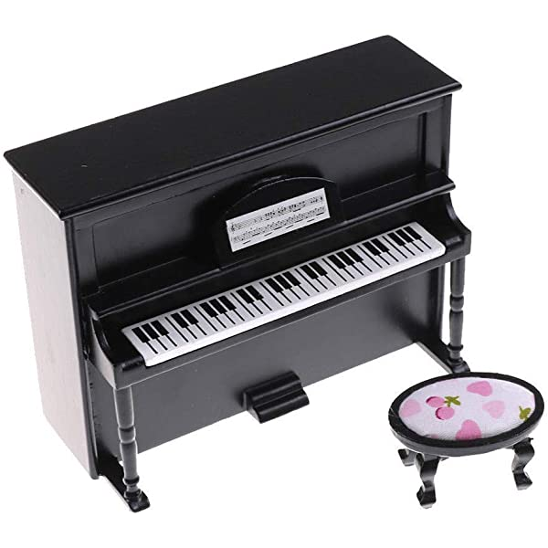 Grand Piano and Stool 1:12 Scale Dollhouse Miniature Music Instrument HE005I
