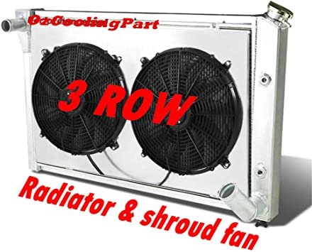 "DUAL-ROW ALUMINUM RACING RADIATOR+2 X 10/"" RED FANS FOR K1500//SUBURBAN//K10//K20"