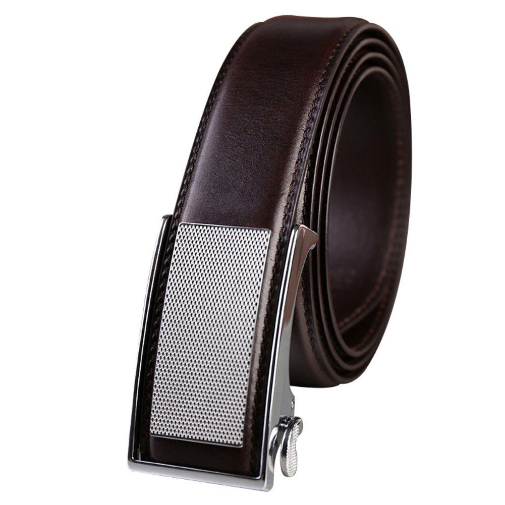 JIEJING Men's Decoration Belt,Automatic buckle Business Belt Leisure wild Youth Belt-dark brown 110cm(43inch)