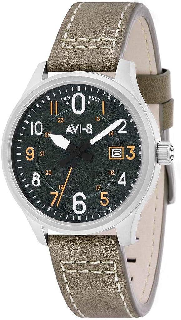AVI-8 Men s AV-4053 Hawker Hurricane Altimeter Edition Stainless Steel Japanese-Quartz Aviator Watch with Leather Strap